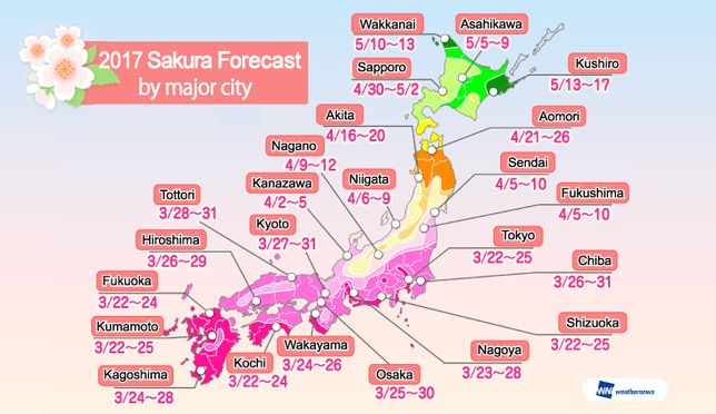 Sakura Forecast for 2017